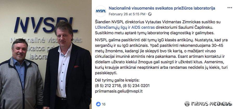 """NVSPL """"Facebook"""" pranešimas"""